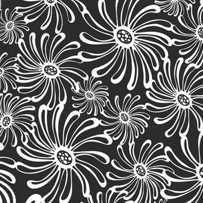 Bursting Bloom Floral - Black & White