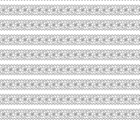 Elizabethan Simple Floral Blackwork Band fabric by sidney_eileen on Spoonflower - custom fabric