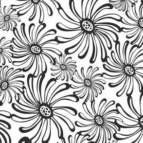 Bursting Bloom Floral - White & Black