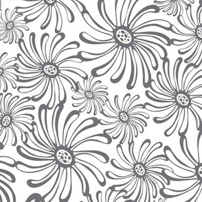 Bursting Bloom Floral - White & Grey