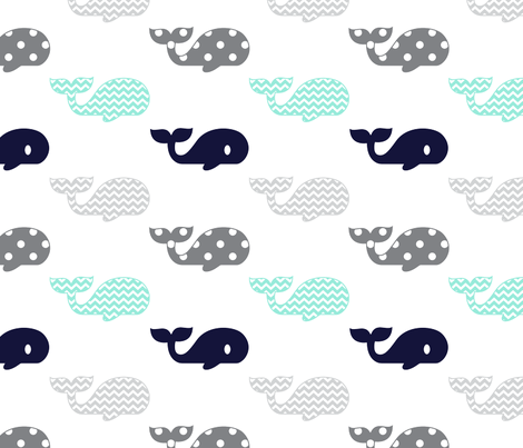 whales_mintnavy fabric by graceandcruzdesigns on Spoonflower - custom fabric