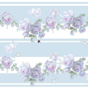 Garden Rose Aqua Stripe