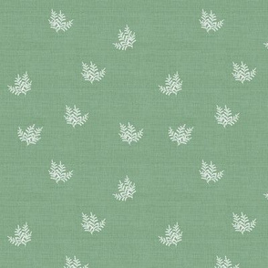 Feathery Fern Vintage Green Linen