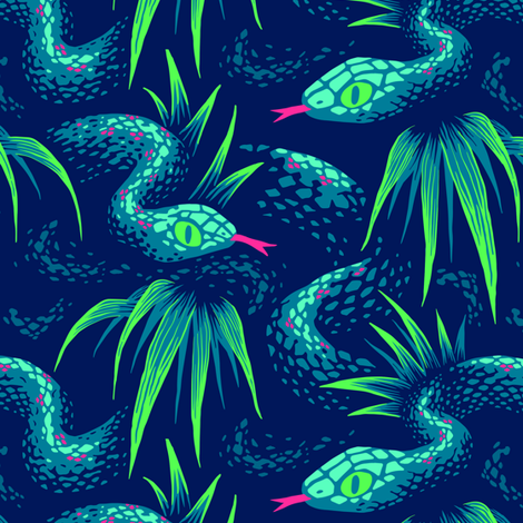 Mr Snake in the Rainforest - Green  - Medium Scale fabric by andreaalice on Spoonflower - custom fabric
