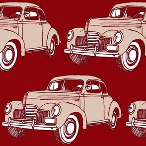 1939 Studebaker tan and brown on dark red