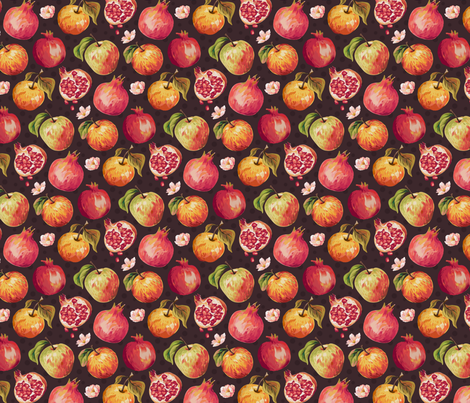 Autumn Splendour - Pomegranates & Apples fabric by samalah on Spoonflower - custom fabric