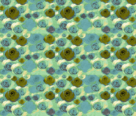 Green small rose fabric by cruzangirl on Spoonflower - custom fabric