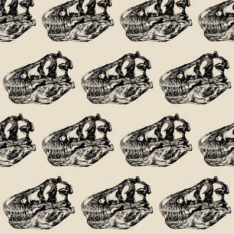 Vintage Museum Skeletons | T-Rex Skull on Cream fabric by bohobear on Spoonflower - custom fabric
