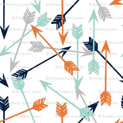 arrows // scattered arrows orange mint navy blue grey kids boys nursery
