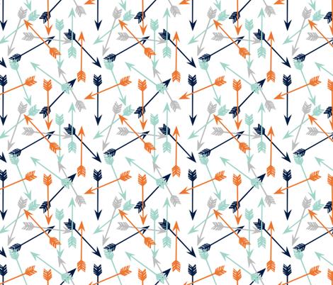 arrows // scattered arrows orange mint navy blue grey kids boys nursery  fabric by andrea_lauren on Spoonflower - custom fabric
