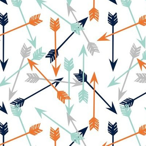 arrows // scattered arrows orange mint navy blue grey kids boys nursery