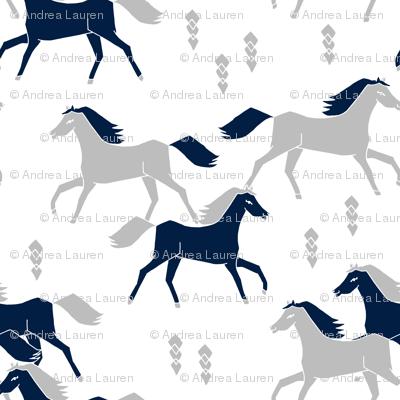 horses // grey and navy blue kids western west wild horses americana