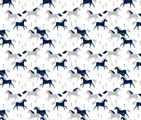 horses // grey and navy blue kids western west wild horses americana fabric by andrea_lauren on Spoonflower - custom fabric