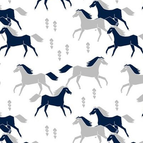 horses // grey and navy blue kids western west wild horses americana