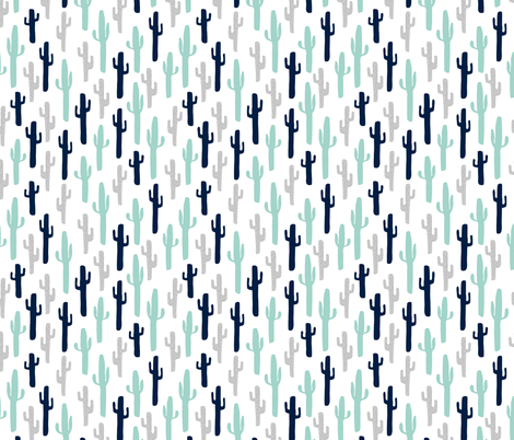 cactus // grey mint navy blue kids cactus cacti plants plant  fabric by andrea_lauren on Spoonflower - custom fabric