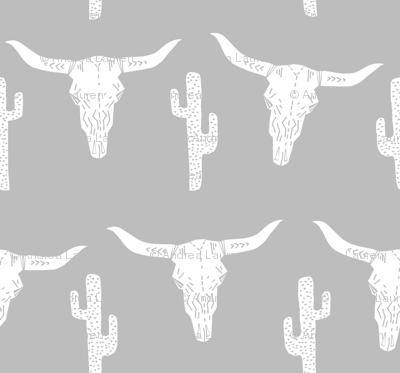 longhorn skull // skulls cactus grey boys room coordinate light grey gray