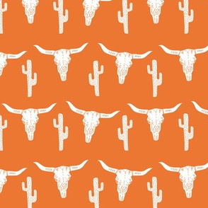 skull // longhorn cattle cow texas skull orange cactus west western kids