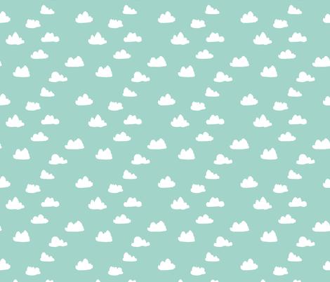 clouds // mint kids baby nursery sweet boys mint  fabric by andrea_lauren on Spoonflower - custom fabric