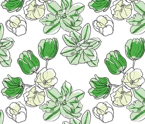 Green tulips fabric by minnacinnamon on Spoonflower - custom fabric