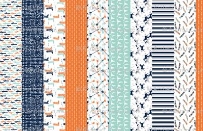 stripes quilt // boys western quilt arrows mint longhorn horses kids stripes navy blue boys orange mint grey cheater quilt
