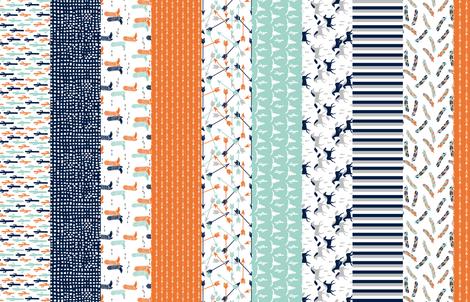 stripes quilt // boys western quilt arrows mint longhorn horses kids stripes navy blue boys orange mint grey cheater quilt  fabric by andrea_lauren on Spoonflower - custom fabric