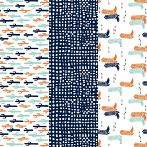stripes quilt // boys western quilt arrows mint longhorn horses kids stripes navy blue boys orange mint grey cheater quilt