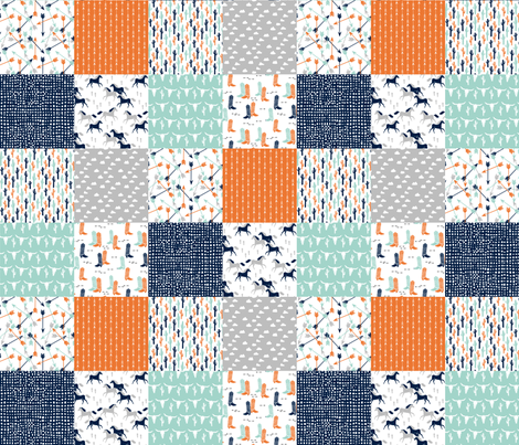 boys cheater quilt // mint orange navy cactus arrows horse western kids  fabric by andrea_lauren on Spoonflower - custom fabric