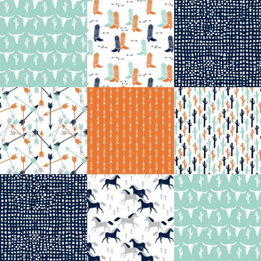boys cheater quilt // mint orange navy cactus arrows horse western kids