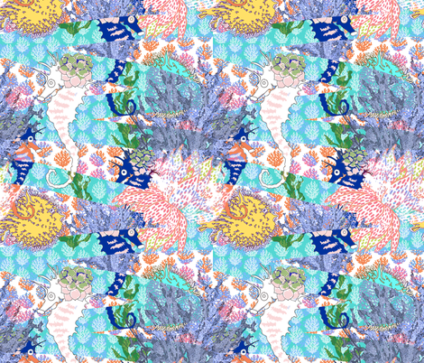 Coral Reef Current fabric by lulabelle on Spoonflower - custom fabric