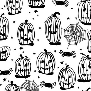 pumpkins // halloween pumpkin black and white spider spiderwebs cute happy funny pumpkins block print