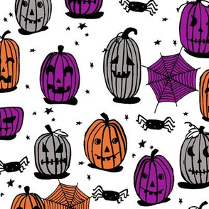 pumpkins // halloween pumpkin grey orange purple kids spooky scary block print spiders october hallow's eve