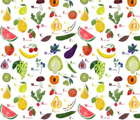 English alphabet with fruit and vegetables fabric by lavish_season on Spoonflower - custom fabric