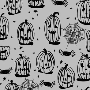 pumpkin // halloween pumpkin kids grey october block print linocut spiders