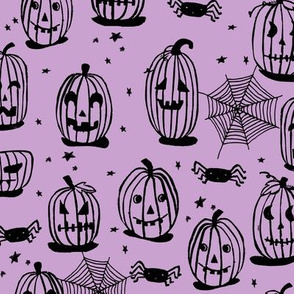 pumpkins // pumpkin purple spider spiderwebs kids creepy scary spooky purple halloween jack o lanterns