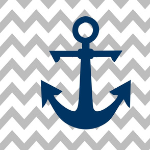 anchor cot sheet // grey chevron and navy anchor with pillows