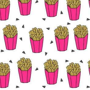 french fries fabric // fries pink girls food junk food fast food