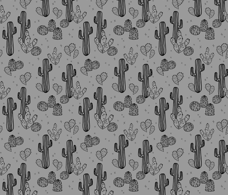Cactus grey cacti plants simple trendy kids plants for Grey childrens fabric