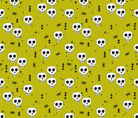 skull // skulls halloween october spider creepy spooky scary lime green fabric by andrea_lauren on Spoonflower - custom fabric