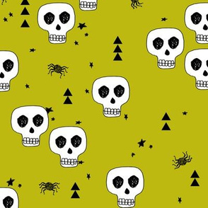 skull // skulls halloween october spider creepy spooky scary lime green