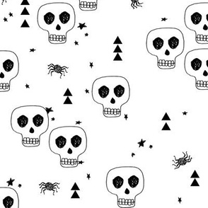 skulls // white halloween skulls creepy spooky black and white october