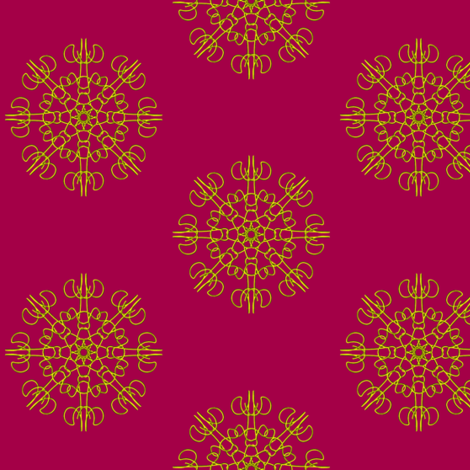 Mariner's Wheel of Gold on Lilly Pilly Pink fabric by rhondadesigns on Spoonflower - custom fabric