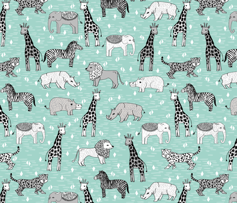 Jungle safari zoo animals mint and grey kids baby for Childrens jungle fabric