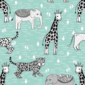 jungle // safari zoo animals mint and grey kids baby nursery sweet animals