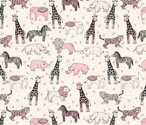 jungle // safari baby nursery girl pink cream cute girls sweet baby animals fabric by andrea_lauren on Spoonflower - custom fabric