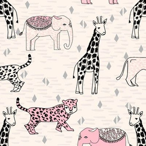 jungle // safari baby nursery girl pink cream cute girls sweet baby animals