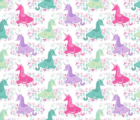 unicorn // pink pastel girls sweet unicorns fabric by andrea_lauren on Spoonflower - custom fabric