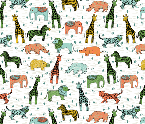 Jungle safari zoo animals kids baby giraffe zebra for Childrens jungle fabric