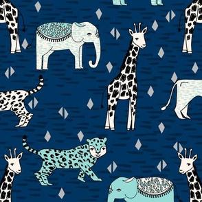 jungle // safari zoo navy blue mint kids baby boys animals