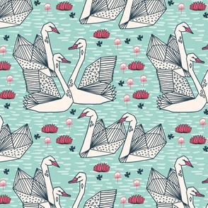 swans // geometric mint swans girls lily pond sweet birds