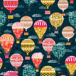 hot air balloons // smaller hot air balloon retro vintage flying machine